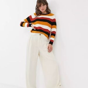 Fall colours striped crew neck chunky knit sweater